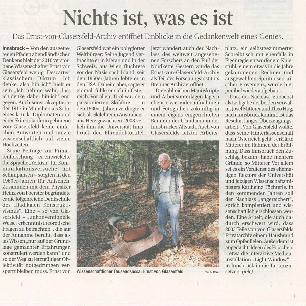 Pressebericht zur Eröffnung, Tiroler Tageszeitung, 23. 3. 2012